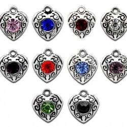 Mixed Silver Tone Rhinestone Love Heart Charm Pendants 12x10mm, sold per packet of 20