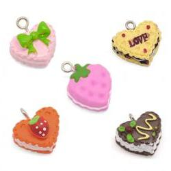 Sweet Lovely Mixed Resin Cake Charm Pendants, sold per packet of 30